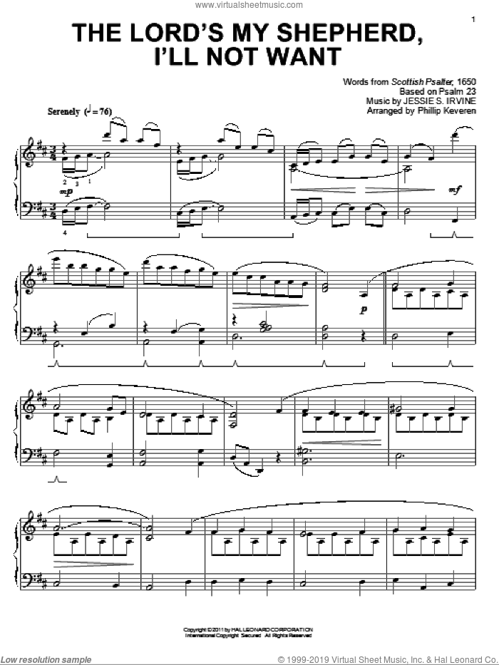 The Lord's My Shepherd, I'll Not Want [Classical version] (arr. Phillip Keveren) sheet music for piano solo by Jessie S. Irvine, Phillip Keveren and Scottish Psalter, intermediate skill level