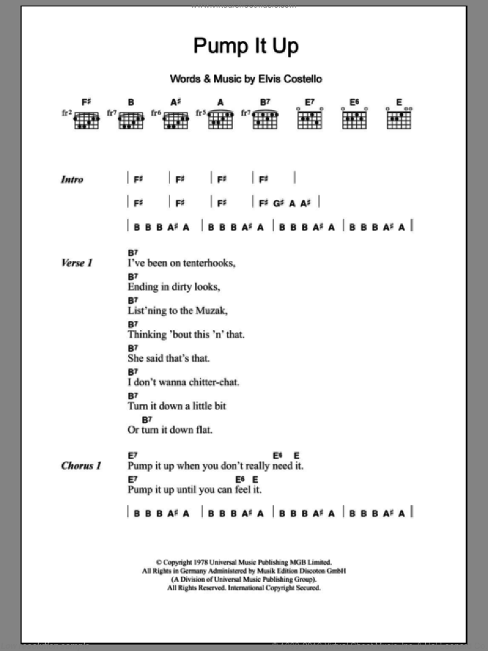 Pump It Up sheet music for guitar (chords) by Elvis Costello, intermediate skill level