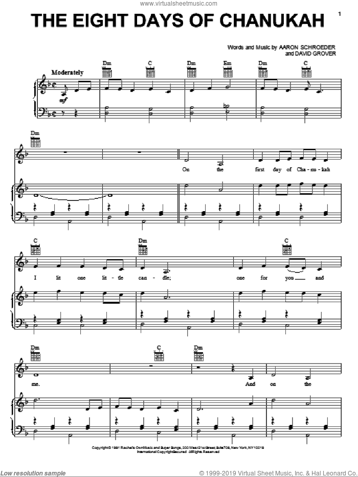 The Eight Days Of Chanukah sheet music for voice, piano or guitar by David Grover & The Big Bear Band, Aaron Schroeder and David Grover, intermediate skill level