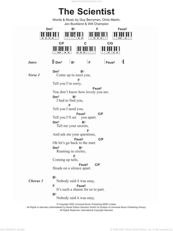 The Scientist sheet music for piano solo (chords, lyrics, melody) by Coldplay, Chris Martin, Guy Berryman, Jon Buckland and Will Champion, intermediate piano (chords, lyrics, melody)