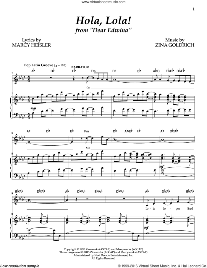 Hola, Lola! sheet music for voice and piano by Goldrich & Heisler, Marcy Heisler and Zina Goldrich, intermediate skill level