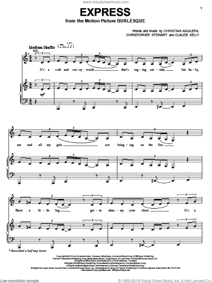 Express sheet music for voice, piano or guitar by Christina Aguilera, Burlesque (Movie), Christopher Stewart and Claude Kelly, intermediate skill level
