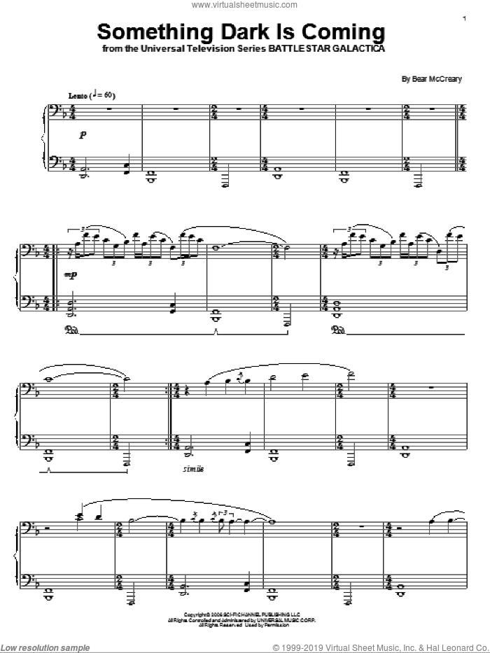 Something Dark Is Coming sheet music for piano solo by Bear McCreary and Battlestar Galactica (TV Series), intermediate skill level