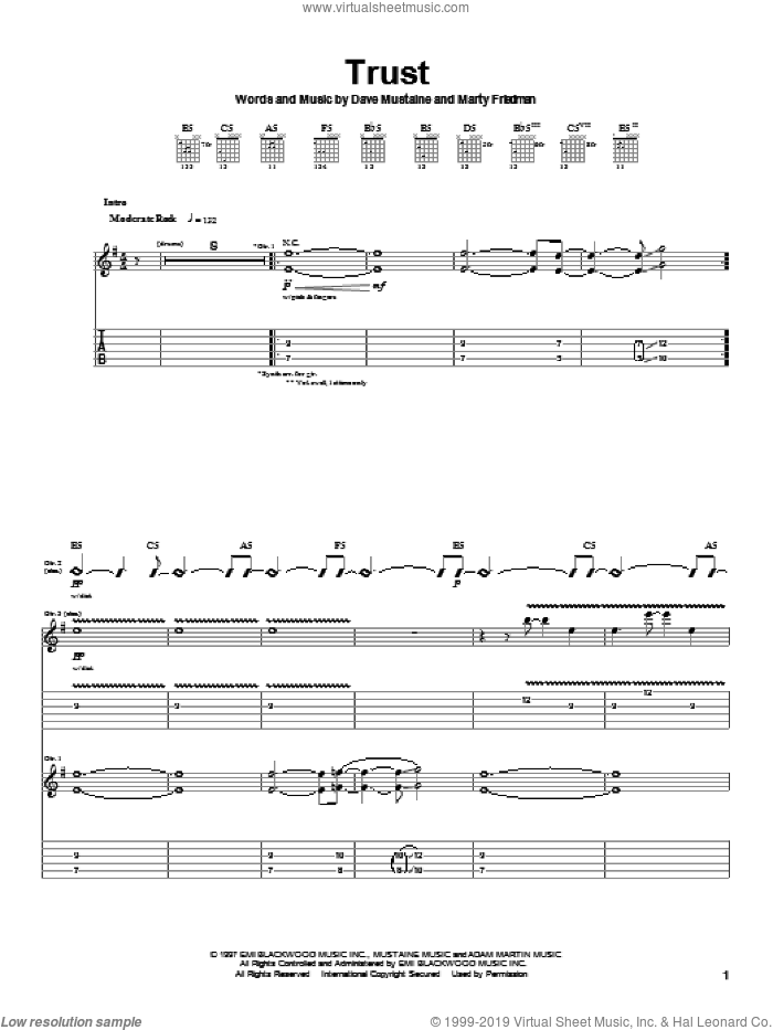 Trust sheet music for guitar (tablature) by Megadeth, Dave Mustaine and Marty Friedman, intermediate skill level