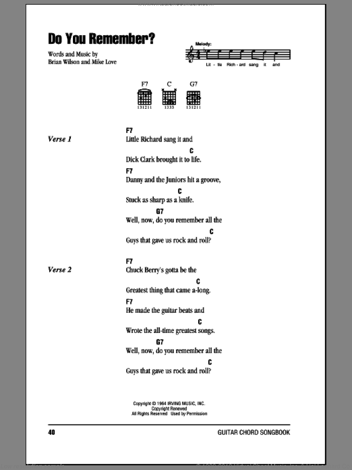 Do You Remember? sheet music for guitar (chords) by The Beach Boys, Brian Wilson and Mike Love, intermediate skill level