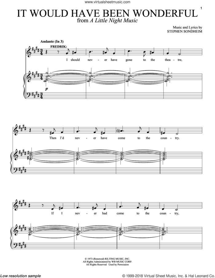 It Would Have Been Wonderful sheet music for two voices and piano by Stephen Sondheim and A Little Night Music (Musical), intermediate skill level