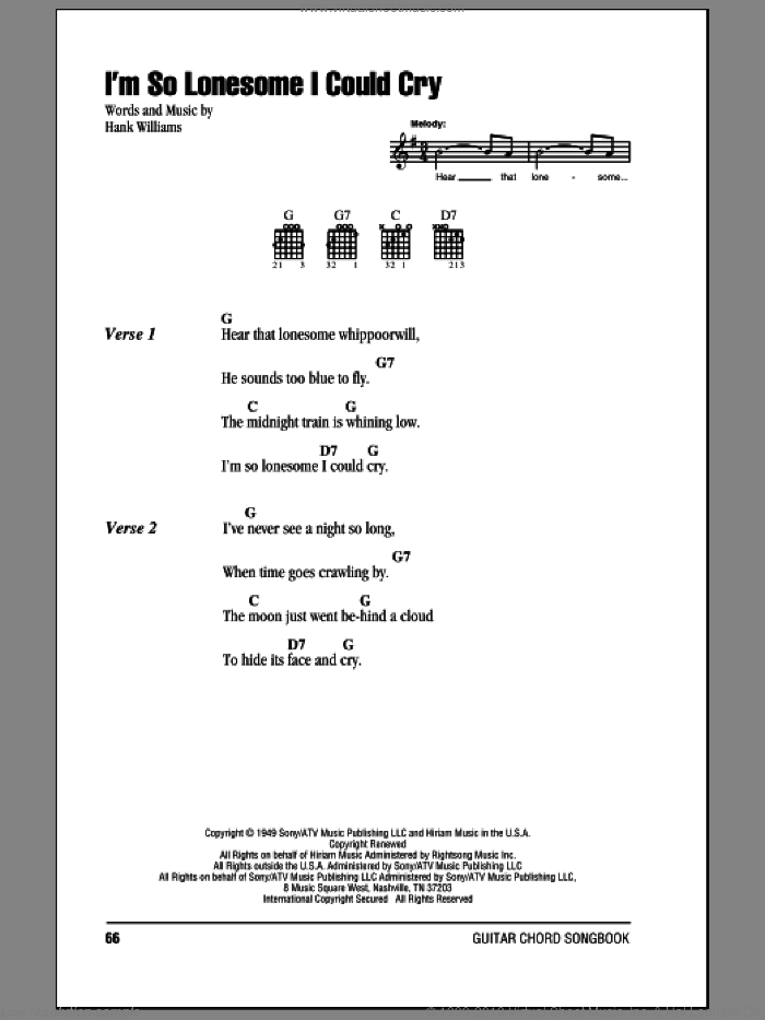 I'm So Lonesome I Could Cry sheet music for guitar (chords) by Hank Williams and Elvis Presley, intermediate skill level