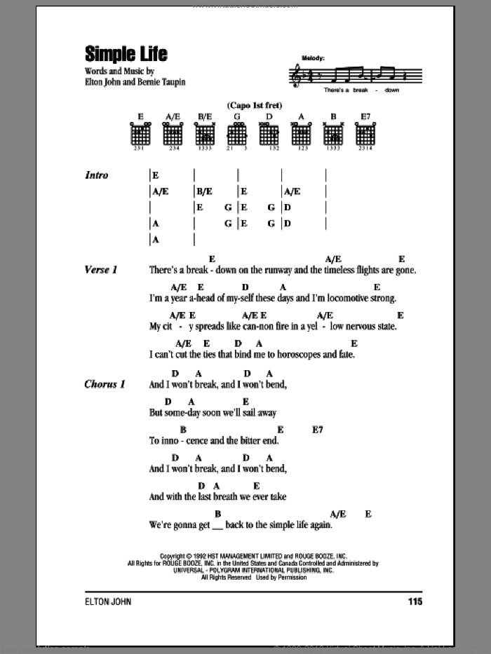 Simple Life sheet music for guitar (chords) by Elton John and Bernie Taupin, intermediate skill level