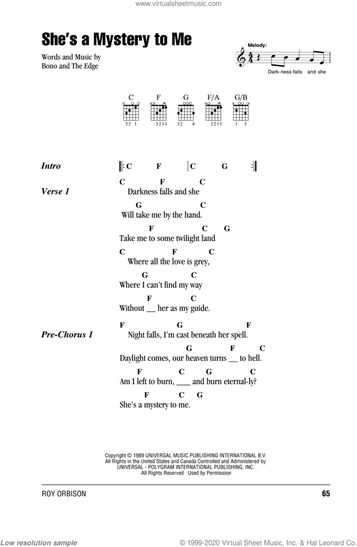 She's A Mystery To Me sheet music for guitar (chords) by Roy Orbison, U2, Bono and The Edge, intermediate skill level