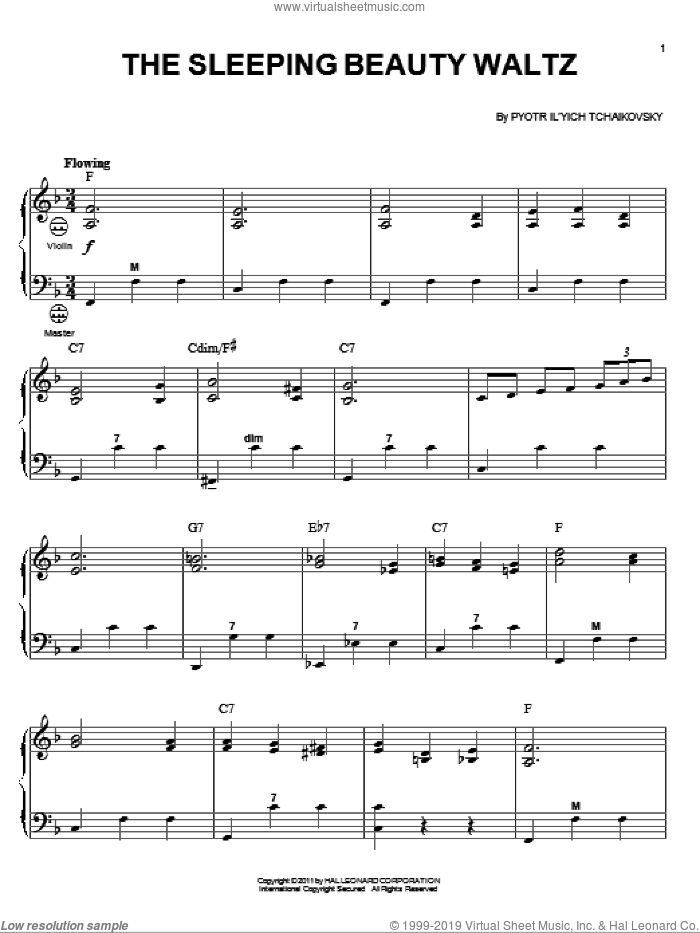 The Sleeping Beauty Waltz sheet music for accordion by Pyotr Ilyich Tchaikovsky and Gary Meisner, classical score, intermediate skill level