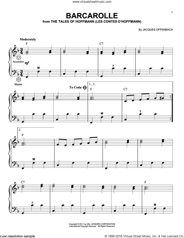 Barcarolle sheet music for accordion by Jacques Offenbach and Gary Meisner, classical score, intermediate skill level