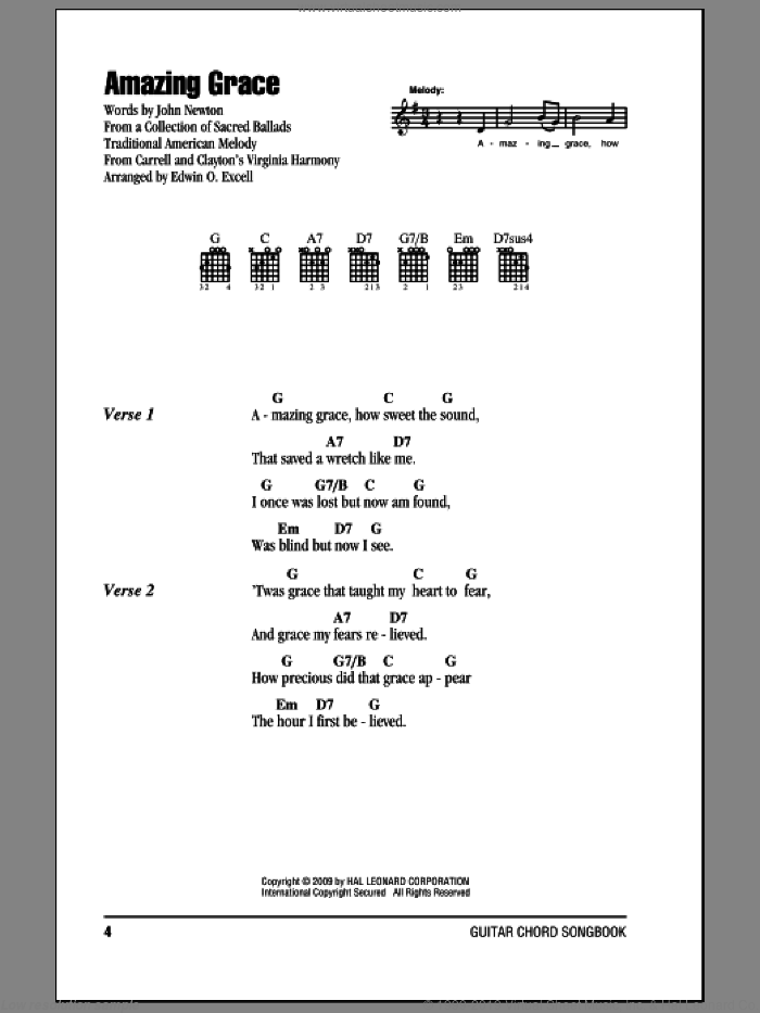 Amazing Grace sheet music for guitar (chords) by John Newton, Edwin O. Excell and Miscellaneous, intermediate skill level
