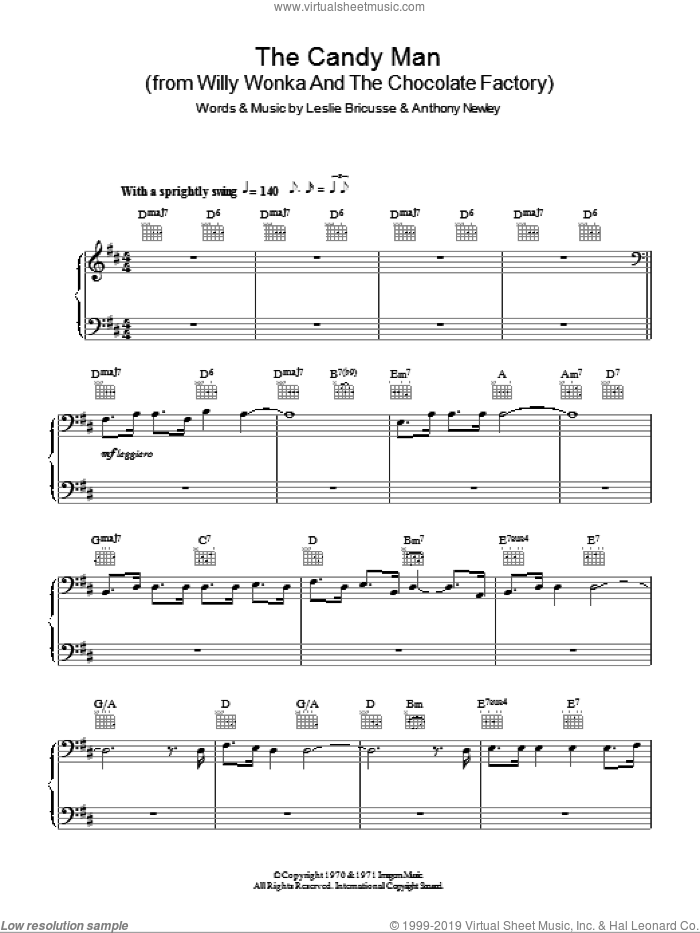 The Candy Man, (easy) sheet music for piano solo by Leslie Bricusse, Sammy Davis, Jr. and Anthony Newley, easy skill level