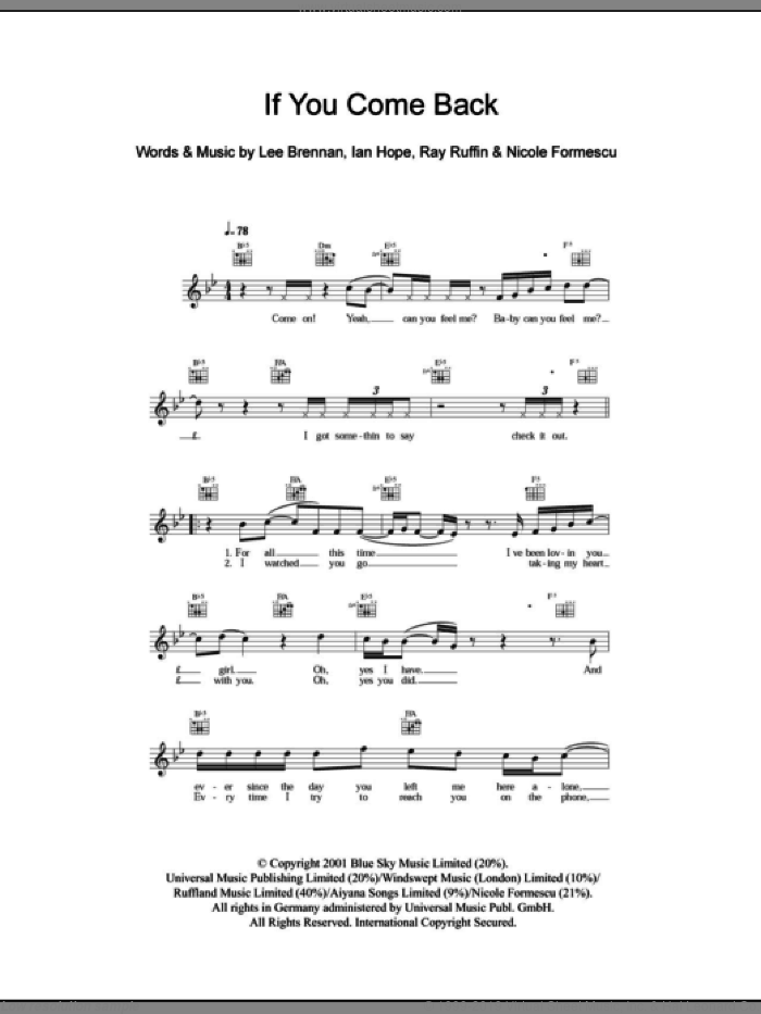 If You Come Back sheet music for voice and other instruments (fake book) , Ian Hope, Lee Brennan, Nicole Formescu and Ray Ruffin, intermediate skill level