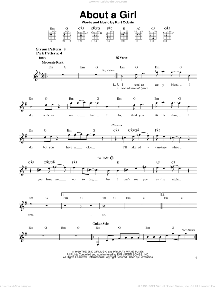 About A Girl sheet music for guitar solo (chords) by Nirvana and Kurt Cobain, easy guitar (chords)