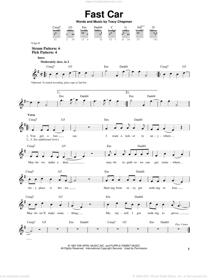 Fast Car sheet music for guitar solo (chords) by Tracy Chapman, easy guitar (chords)