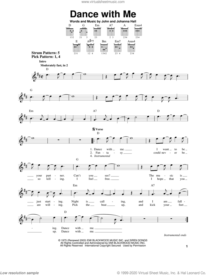 Dance With Me sheet music for guitar solo (chords) by Orleans, Johanna Hall and John Hall, easy guitar (chords)