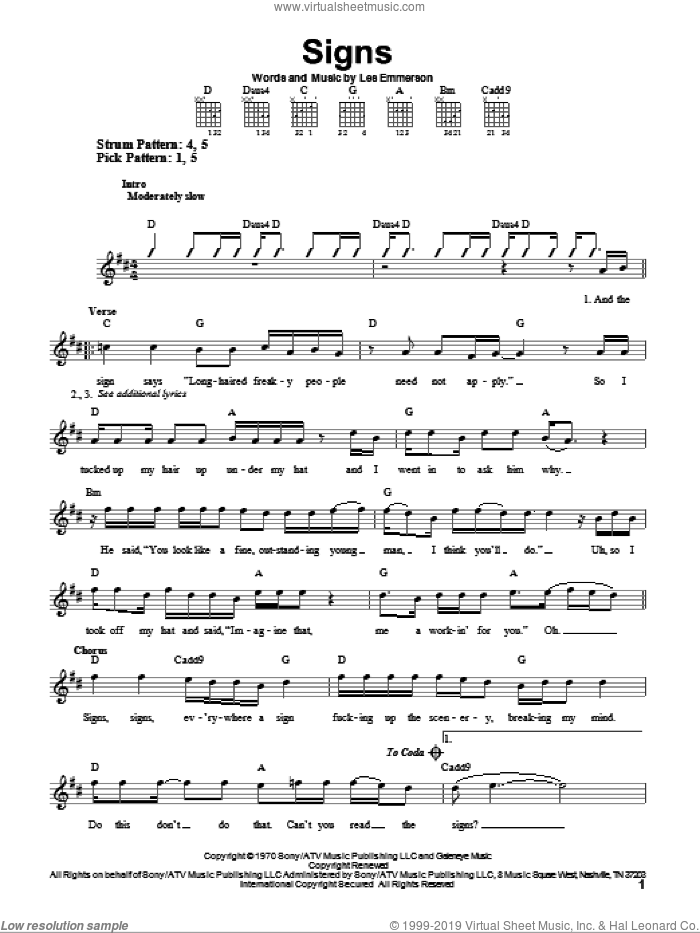 Signs sheet music for guitar solo (chords) by Five Man Electrical Band, Tesla and Les Emmerson, easy guitar (chords)