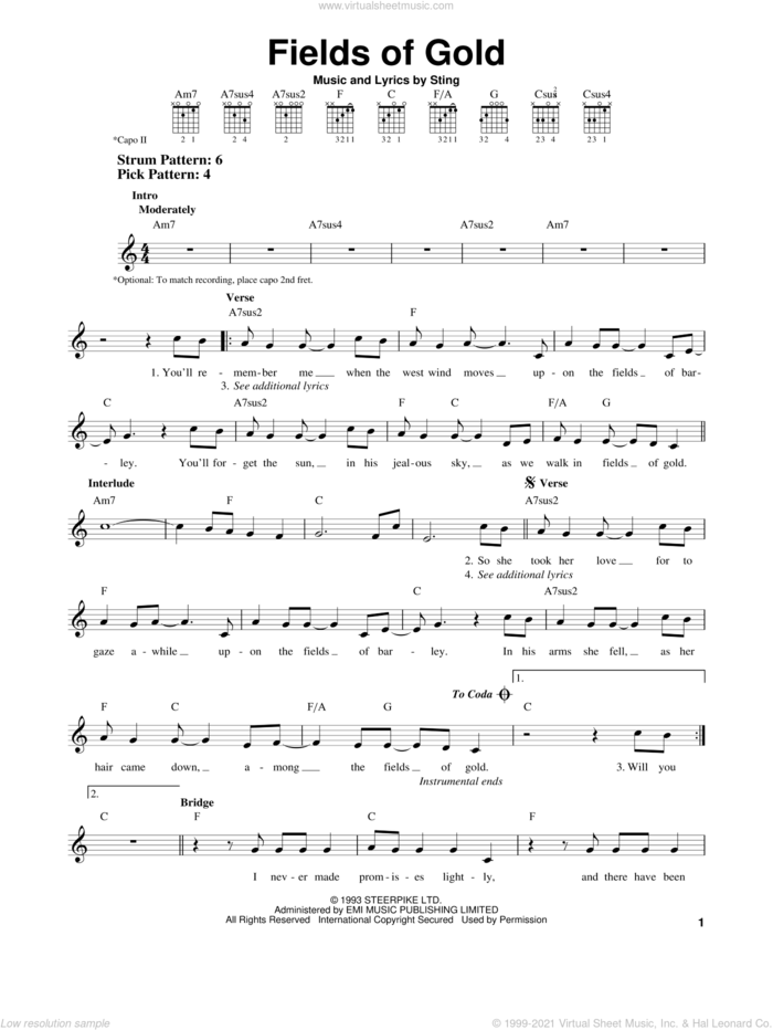 Fields Of Gold sheet music for guitar solo (chords) by Sting, easy guitar (chords)