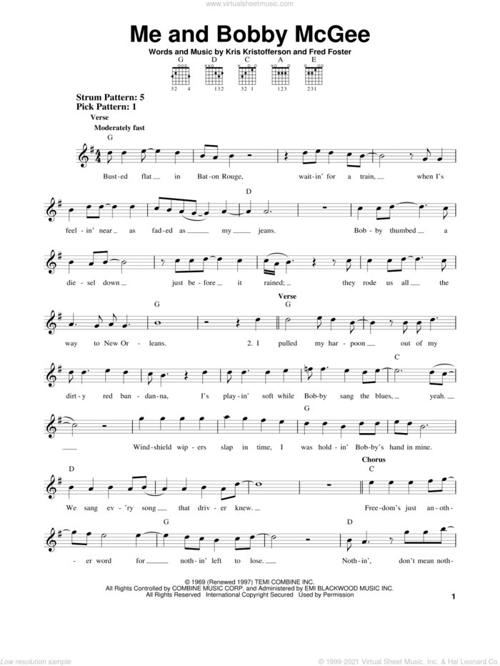 Me And Bobby McGee sheet music for guitar solo (chords) by Janis Joplin, Fred Foster and Kris Kristofferson, easy guitar (chords)