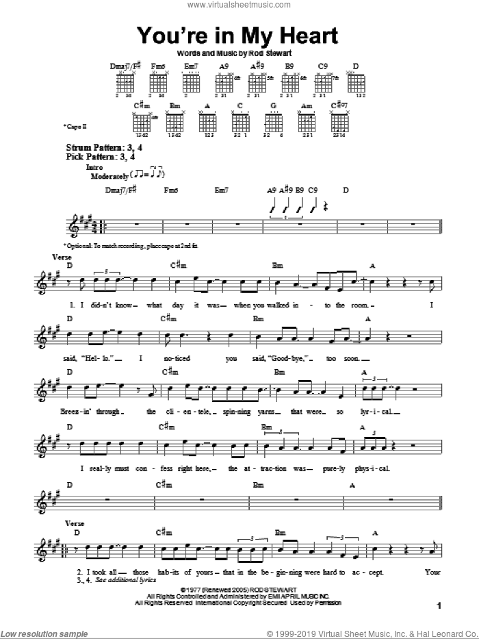 You're In My Heart sheet music for guitar solo (chords) by Rod Stewart, easy guitar (chords)