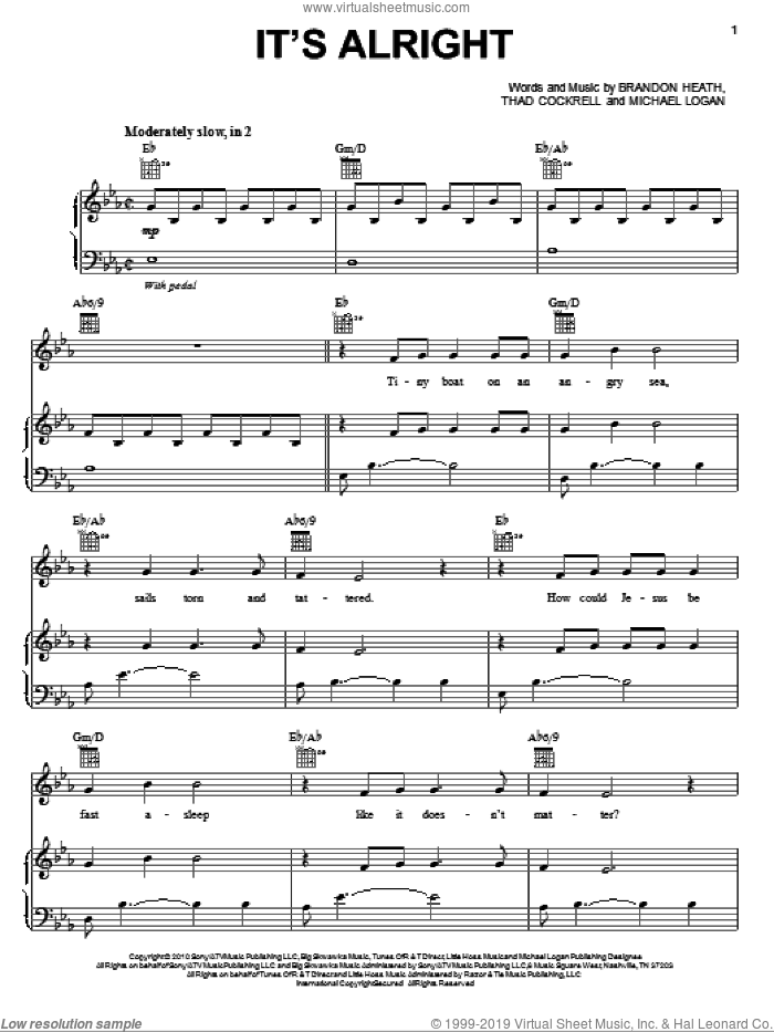 It's Alright sheet music for voice, piano or guitar by Brandon Heath, Michael Logan and Thad Cockrell, intermediate skill level