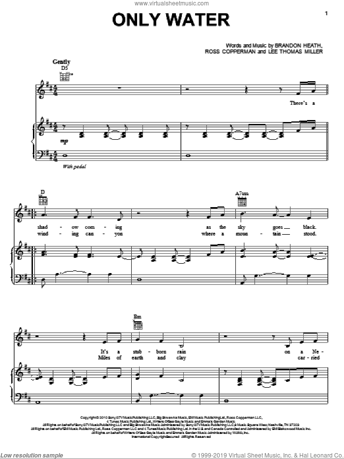 Only Water sheet music for voice, piano or guitar by Brandon Heath, Lee Thomas Miller and Ross Copperman, intermediate skill level