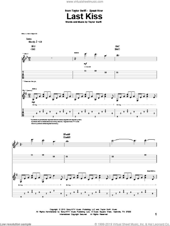 Last Kiss sheet music for guitar (tablature) by Taylor Swift, intermediate skill level