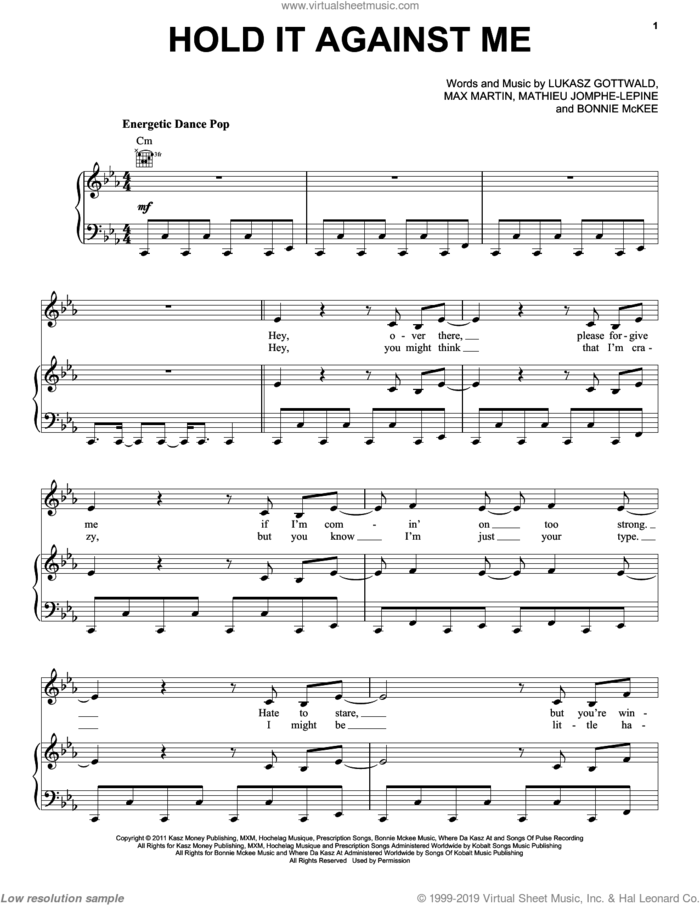 Hold It Against Me sheet music for voice, piano or guitar by Britney Spears, Bonnie McKee, Lukasz Gottwald, Mathieu Jomphe and Max Martin, intermediate skill level