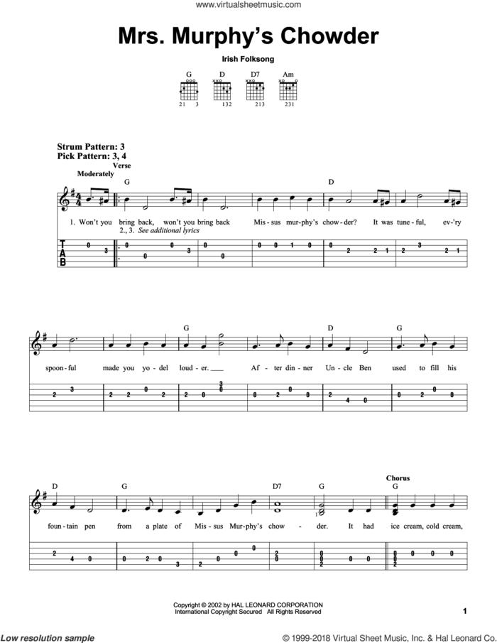 Mrs. Murphy's Chowder sheet music for guitar solo (easy tablature), easy guitar (easy tablature)