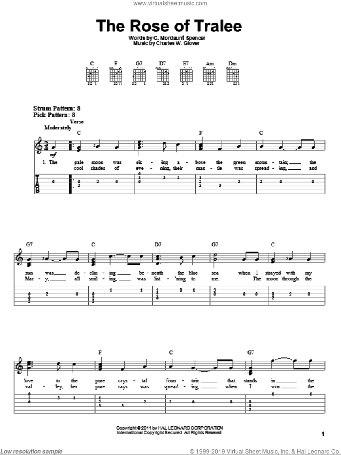 The Rose Of Tralee sheet music for guitar solo (easy tablature) by Charles W. Glover and C. Mordaunt Spencer, easy guitar (easy tablature)