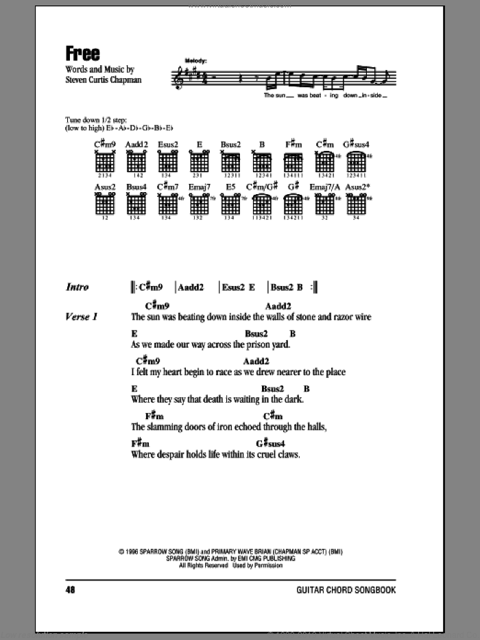 Free sheet music for guitar (chords) by Steven Curtis Chapman, intermediate skill level