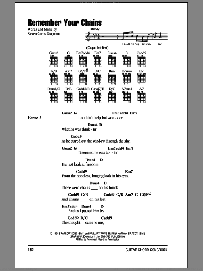 Remember Your Chains sheet music for guitar (chords) by Steven Curtis Chapman, intermediate skill level