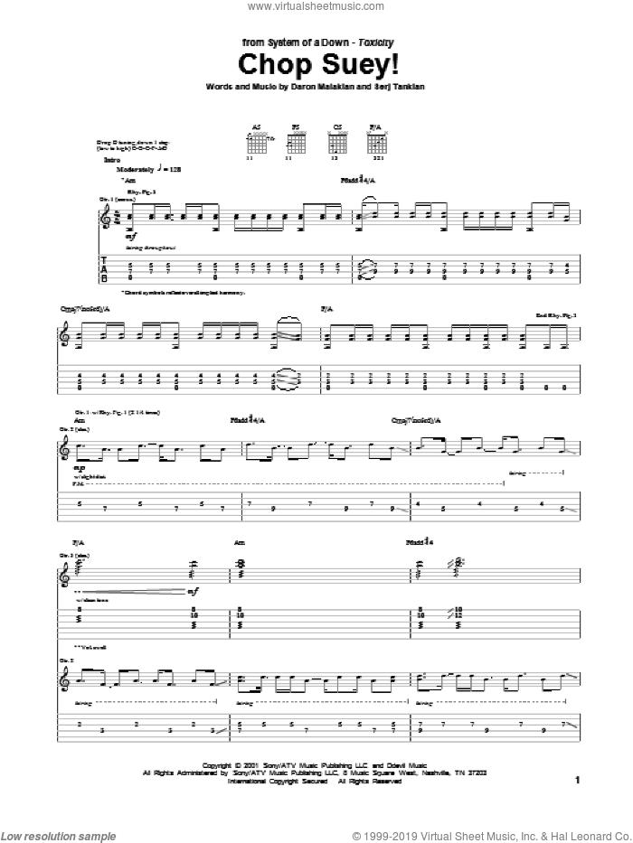 Chop Suey! sheet music for guitar (tablature) by System Of A Down, Daron Malakian and Serj Tankian, intermediate skill level