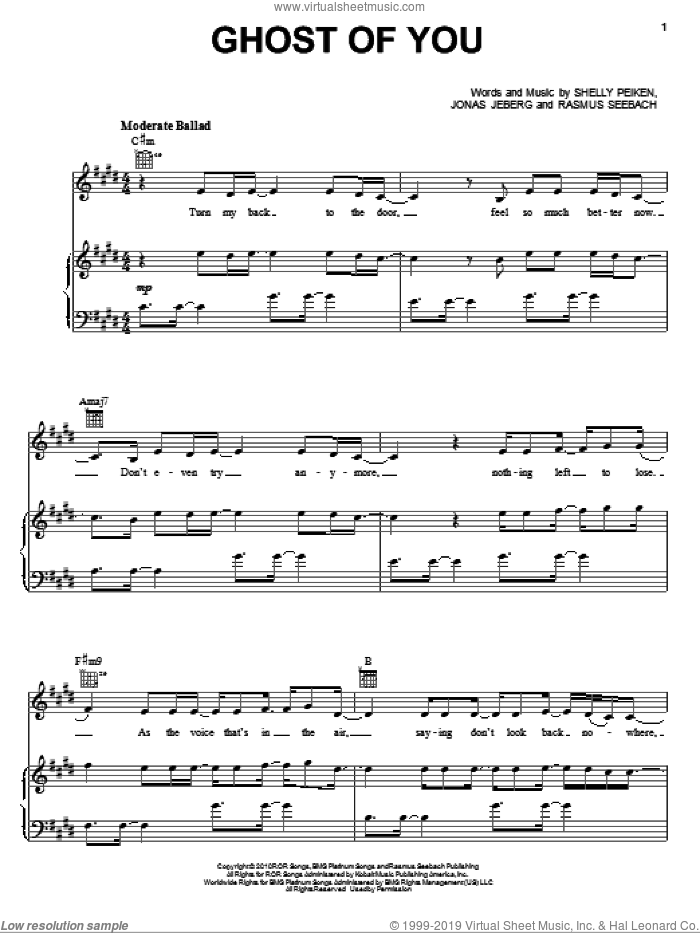 Ghost Of You sheet music for voice, piano or guitar by Shelly Peiken, Selena Gomez, Jonas Jeberg and Rasmus Seebach, intermediate skill level