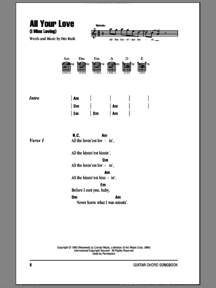 All Your Love (I Miss Loving) sheet music for guitar (chords) by Eric Clapton and Otis Rush, intermediate skill level