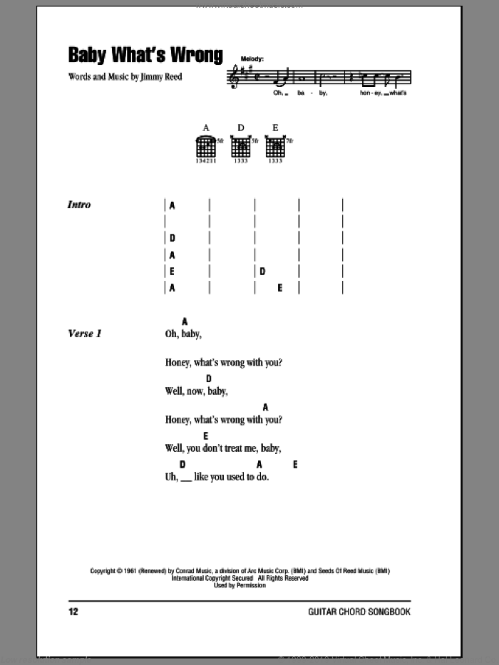 Baby What's Wrong sheet music for guitar (chords) by Eric Clapton, Lonnie Mack and Jimmy Reed, intermediate skill level