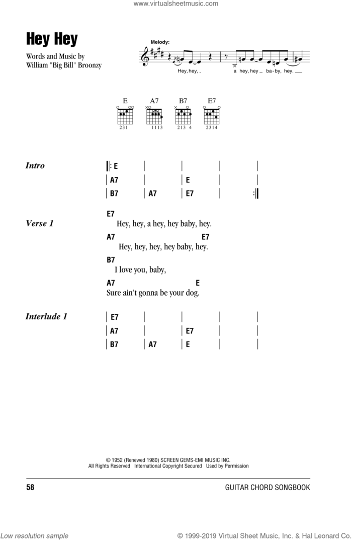 Hey Hey sheet music for guitar (chords) by Eric Clapton and Big Bill Broonzy, intermediate skill level