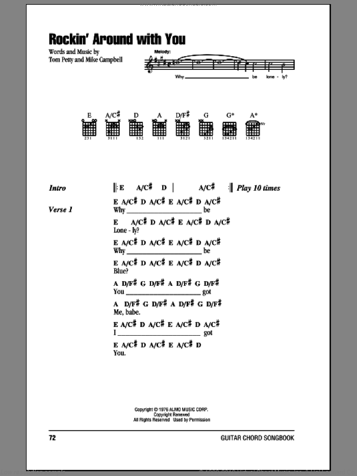 Rockin' Around With You sheet music for guitar (chords) by Tom Petty And The Heartbreakers, Mike Campbell and Tom Petty, intermediate skill level