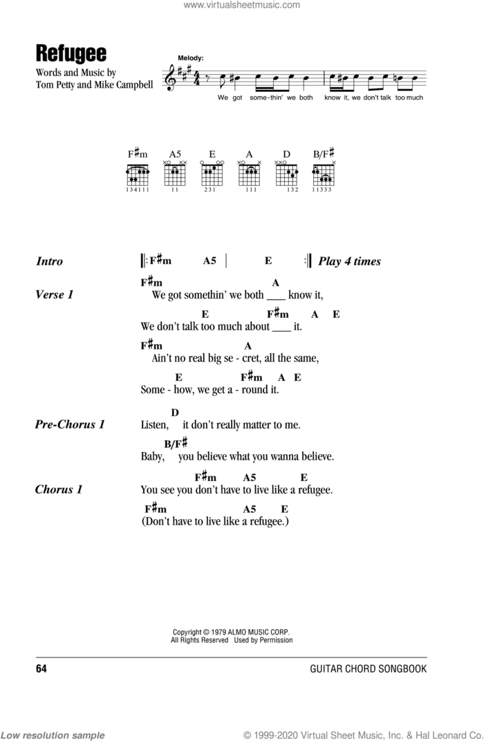 Refugee sheet music for guitar (chords) by Tom Petty And The Heartbreakers, Mike Campbell and Tom Petty, intermediate skill level