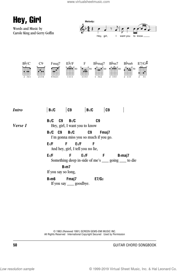 Hey, Girl sheet music for guitar (chords) by Billy Joel, Carole King and Gerry Goffin, intermediate skill level