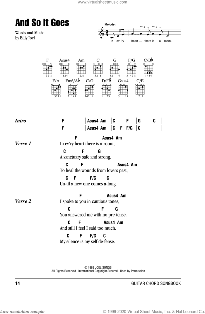 And So It Goes sheet music for guitar (chords) by Billy Joel, intermediate skill level