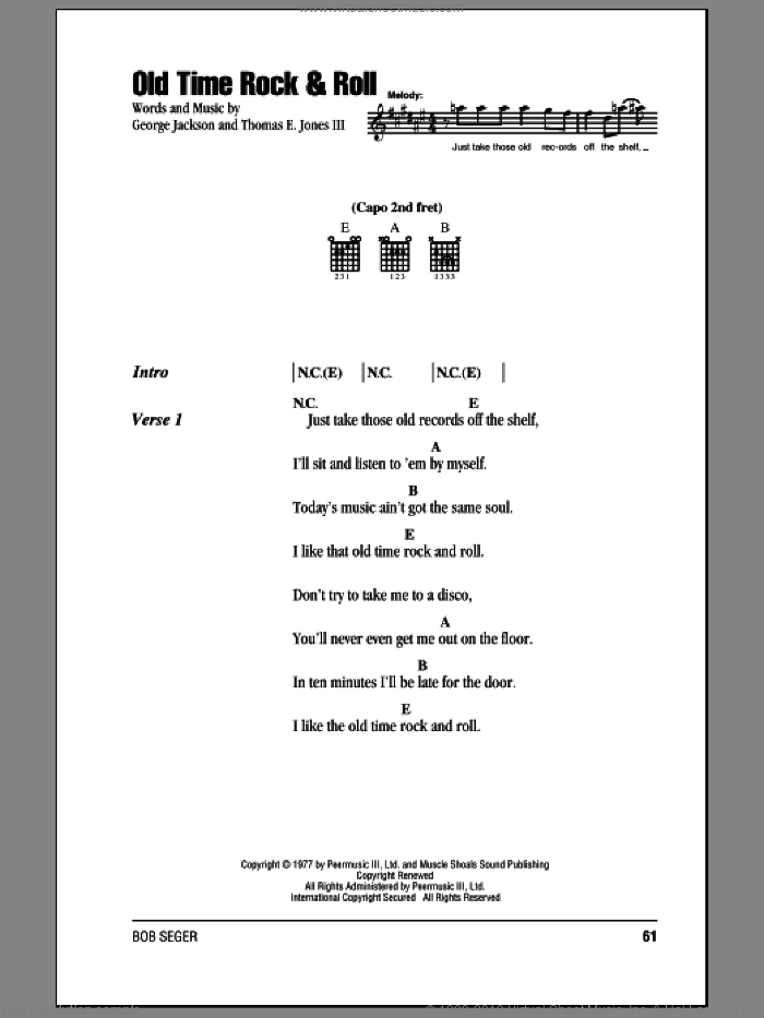 Old Time Rock and Roll sheet music for guitar (chords) by Bob Seger, George Jackson and Tom Jones, intermediate skill level
