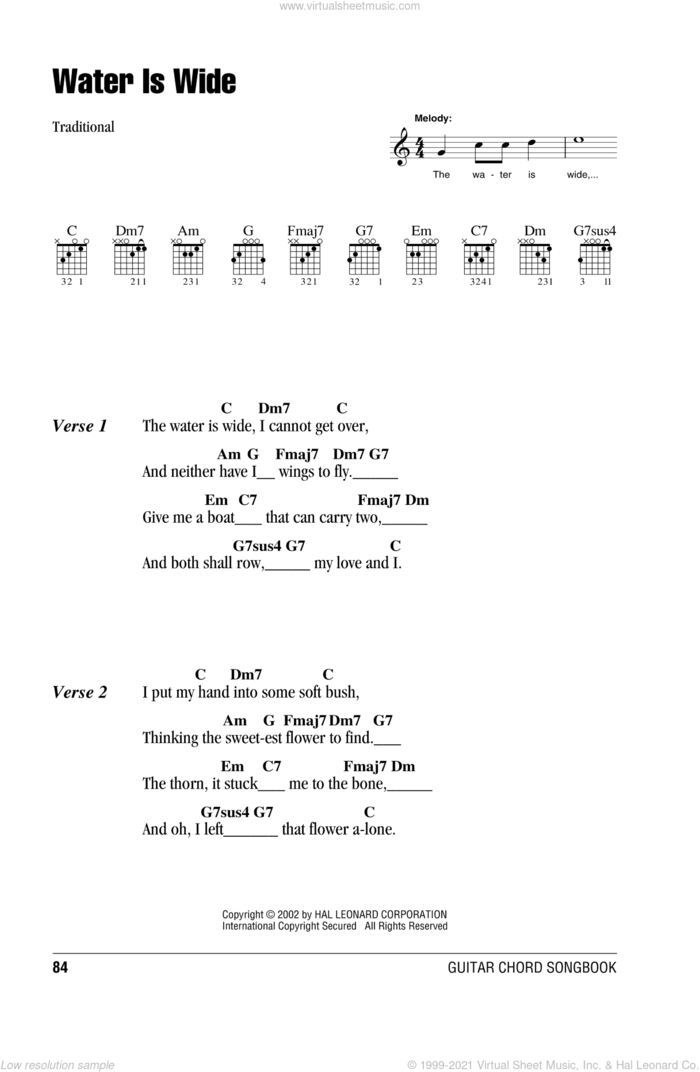 The Water Is Wide sheet music for guitar (chords), intermediate skill level
