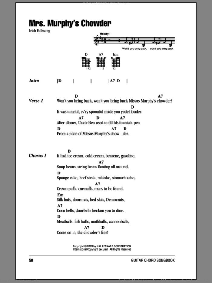Mrs. Murphy's Chowder sheet music for guitar (chords), intermediate skill level