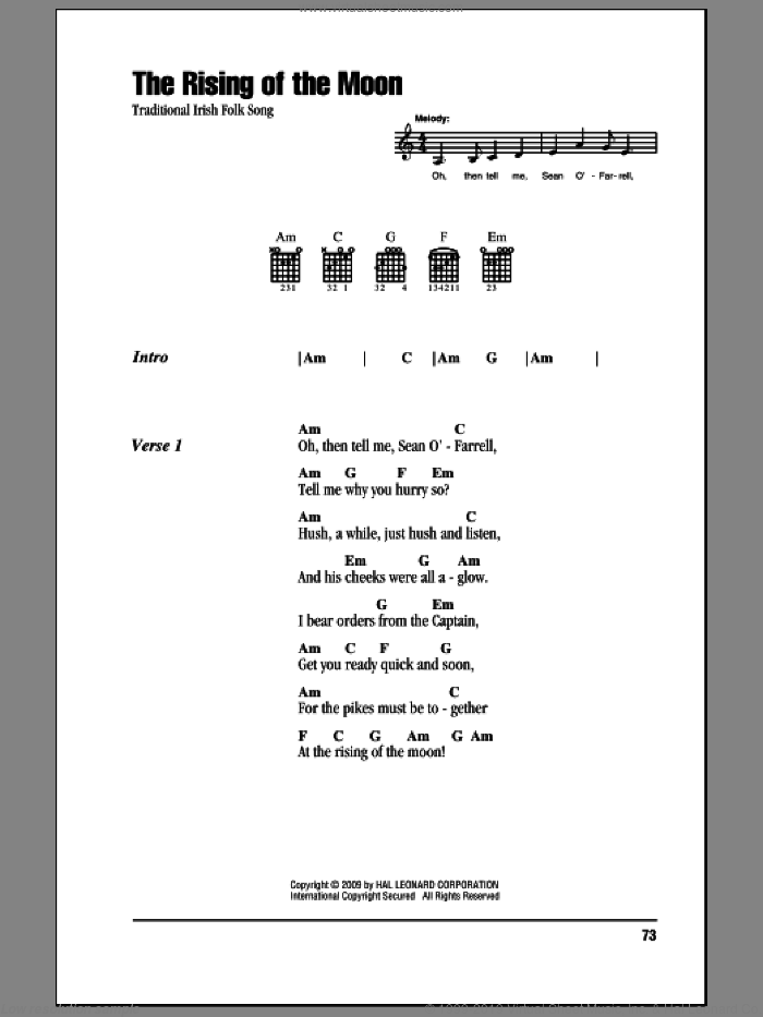 The Rising Of The Moon sheet music for guitar (chords), intermediate skill level