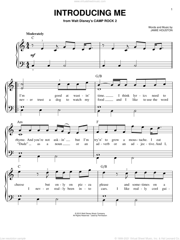 Introducing Me (from Camp Rock 2) sheet music for piano solo by Nick Jonas, Camp Rock 2 (Movie) and Jamie Houston, easy skill level