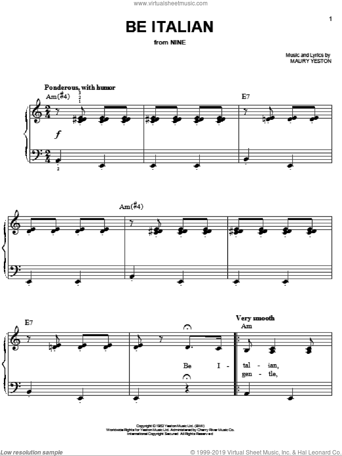 Be Italian sheet music for piano solo by Maury Yeston, Fergie and Nine (Musical), easy skill level