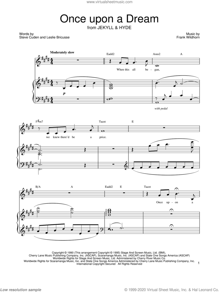 Once Upon A Dream sheet music for voice and piano by Leslie Bricusse, Jekyll & Hyde (Musical), Frank Wildhorn and Steve Cuden, intermediate skill level
