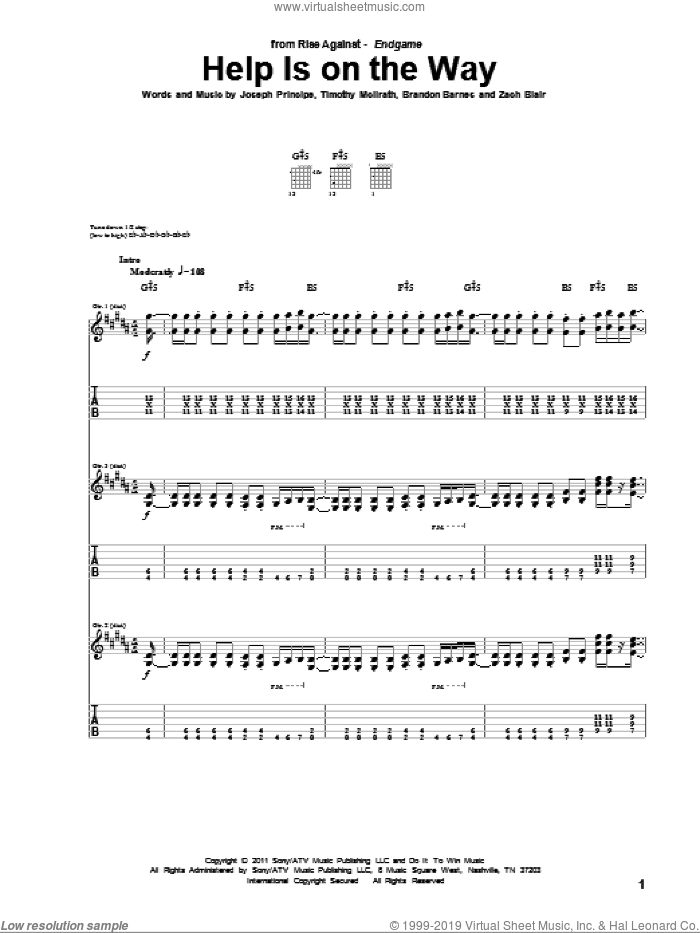Help Is On The Way sheet music for guitar (tablature) by Rise Against, Brandon Barnes, Joseph Principe, Timothy McIlrath and Zach Blair, intermediate skill level